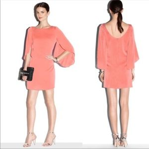 Make Offer Milly Butterfly Sleeve Silk Dress Coral
